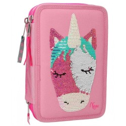 Ylvi and the Minimoomis Unicorn Sequins 44-pieces Penaaleita Triple Set Pencil Case