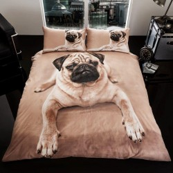 Luxury 3D Effect Pug Dog Bed Linen Duvet Cover Set 230x220+50x75 cm