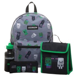 4 Piece Set Minecraft Backpack School Bag Pencil Case Water Bottle Lunch Bag