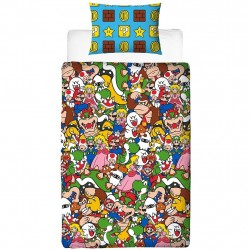 Super Mario Gang Bed linen 135x200 + 48x74cm