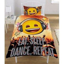Emoji Eat Sleep Dance Bed Linen Single Duvet Cover Set 135x200 + 50x75 cm