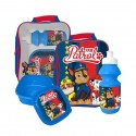 Paw Patrol Chase, Marshall & Rubble bag with lunch box and water bottle Blue