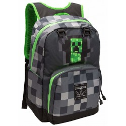 Minecraft Creepy Creeper Backpack Skolesæk Rygsæk Grå 44cm