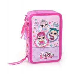 L.O.L. Surprise LOL Friends 44-pieces Triple School Set Pencil Case Pink