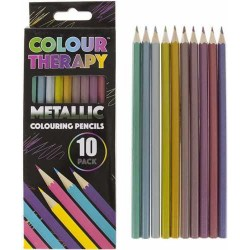 Colour Therapy 10-Pack Metallic Pencils, Paint, Draw, Relax