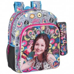 Disney Soy Luna Quads Backpack School Bag 38x32x12cm + Pencil Case