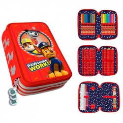 Paw Patrol Pawsome Triple School Set 44-pieces Filled Pencil Case Red