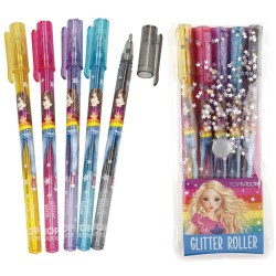 TOPModel Glitter Roller Pen Set Soft Gel Ink 5pcs