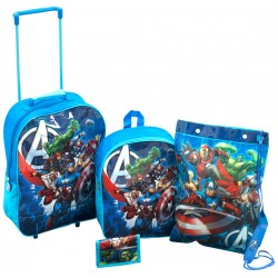 4 in 1 Set Avengers Trolley Backpack Gym bag Wallet