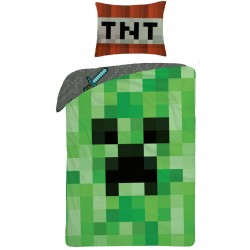 Minecraft Creeper Case Cover Bed 140x200 + 70x90cm