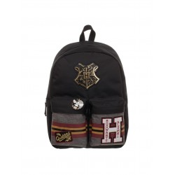 Harry Potter Patches Backpack with Pin Badge School Bag Reppu Laukku 44x33x17cm