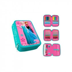 43-pieces Frozen Elsa Anna Triple School Set 3D Pencil Case Pink/Blue