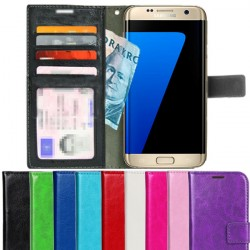 Samsung Galaxy S7 EDGE Wallet Case ID pocket, 4pcs Cards + Wrist strap