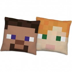 Minecraft Pillow Double Sided Motif With Steve & Alex , Cushion