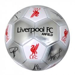 Liverpool Silver Signature Football Autographs Sports Ball Size 5