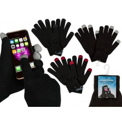 Black Knitted Gloves With Touchscreen Function One-Size