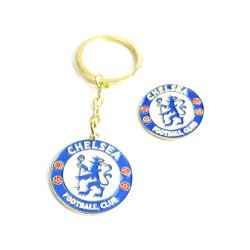 Chelsea FC Keyring Keychain & Badge Set