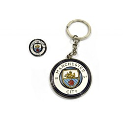 Manchester City FC Keyring Keychain & Badge Set Man City