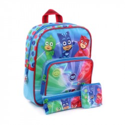 3in1 PJ Masks Pyjamasankarit Backpack Pencil Case And Wallet