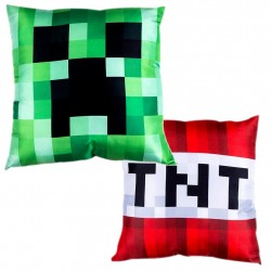 Minecraft Pillow Double Sided Motif With Creeps & TNT, Cushion