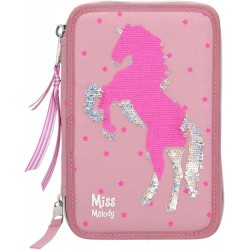 Miss Melody Sequins Horse 43-pieces Penaaleita Triple Set Pencil Case
