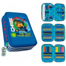 Paw Patrol Chase Triple 44-piece Filled Pen Case Schooly Blue