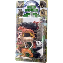 Natural World 21pcs Wild Life Safari Playset Assorted 5-12cm Mix