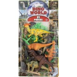 Natural World 21pcs Dino Playset Assorted Dinosaurs 5-10cm Mix