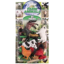 Natural World 21pcs Playset Assorted Farm 5-12cm Mix