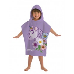 Emoji Unicorn Kids Double Sided Hooded Towel Poncho 115*50cm