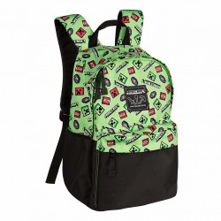 Minecraft Scatter Creeper Backpack Skoletaske Grøn 40cm