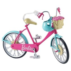Barbie Bike Riding Bicycle With Flower Basket And Helmet 28cm