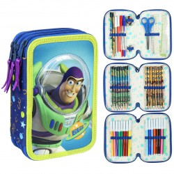 Toy Story Buzz Lightyear & Woody Triple School Set Filled 43-pieces Blue/Green