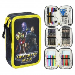 Marvel Avengers Galaxy Thanos Triple Schoolset 43-delt Pennset sort / gul