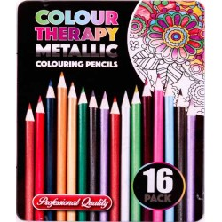 Colour Therapy 16-Pack Metallic Pencils, Paint, Draw, Relax