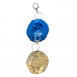 Metal Keychain With Sequins And Carabiner Hook Blue/Gold