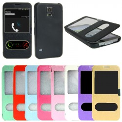 TOP Flip Cover med Shell Samsung Galaxy S5 / S5 Neo / S5 Plus magnetlås