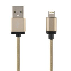 DELTACO PRIME USB sync / charge cable for iPod, iPhone and iPad, 2m Gold