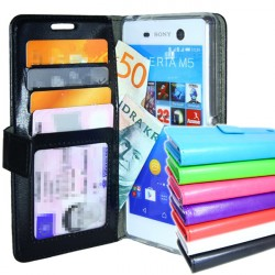 Sony Xperia M5 Wallet Case ID pocket, 4pcs Cards + Wrist strap