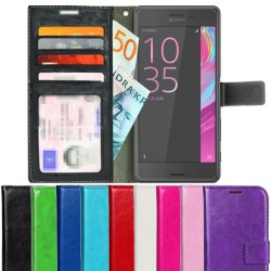 TOPPEN Sony Xperia X Performance Wallet Case ID pocket, 4pcs Cards + Wrist strap