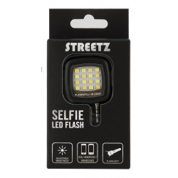 STREETZ Selfie LED-flash til smartphones, 3,5 mm, sort