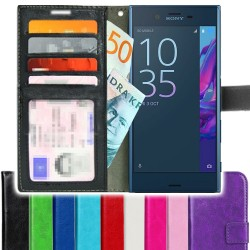 TOPPEN Sony Xperia XZ Wallet Case ID pocket, 3pcs Cards + Wrist strap