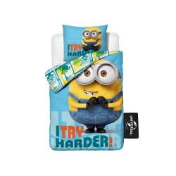 Minions Bed Set Bed Linen i Try Harder 140x200 + 60x70 cm