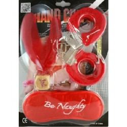Set With Handcuffs, Dice, Eye Mask, Feather, Erotic Games.