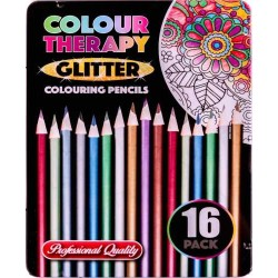 Colour Therapy 16-Pack Glitter Pencils, Paint, Draw, Relax