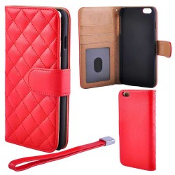 Luxury Deluxe Quilted Wallet Case iPhone 6 Plus/6S Plus, Red