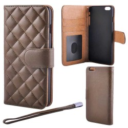 Luxury Deluxe Quilted Wallet Case iPhone 6 Plus/6S PLUS, Brown