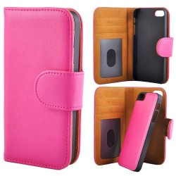 Deluxe Wallet Folio Case Removable Magnetic Back Cover iPhone 5/5s/SE PINK