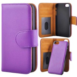 Deluxe Wallet Folio Case Removable Magnetic Back Cover iPhone 5/5s/SE Purple