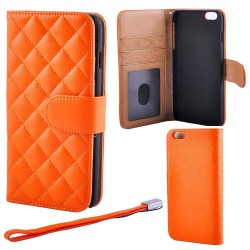 Quilted Luxury Wallet Case Iphone 6 / 6s PLUS, Orange